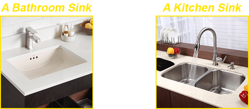 Bathroom sinks, kitchen sinks, a dishwasher, and showers